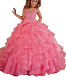 $enCountryForm.capitalKeyWord NZ - Free shipping Watermelon Red Spaghetti Tiered Organza Ball Gown Sequin Beaded Floor length Girl's Birthday Party Dress Flower girl dresses