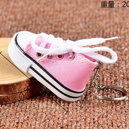 Wholesale Canvas High Shoes Australia - Fashion 4pcs mini Cute Canvas Sports Shoes Key Assorted Colors Sports Shoes Key Ring Toys New Year Gift High quality Key chain