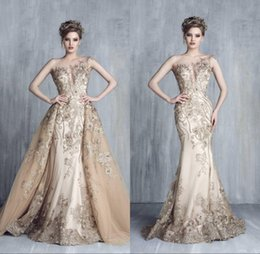 $enCountryForm.capitalKeyWord Canada - 2018 Champagne Dresses Evening Wear With Detachable Train Beads Mermaid Prom Gowns Lace Applique Sleeveless Luxury Party Dress