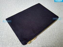 40 pz / lotto di alta qualità in metallo oro con cerniera borsa chiave di tela naturale cotone nero sacchetto cosmetico trendy sacchetto di trucco in bianco per fai da te stampa / vernice in Offerta