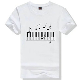 86c9407103b1 Piano note T shirt Cool syllable play short sleeve gown Music tees Leisure  printing clothing Unisex cotton Tshirt