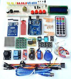Atacado-UNO R3 KIT versão atualizada do Starter Kit o RFID aprender Suíte LCD 1602 para kit arduino venda por atacado