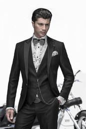 Black Dress Pants Men NZ - Classic Slim fit groom dress men's suit black best man best men's wedding dress suit 3 (coat + pants + vest) custom