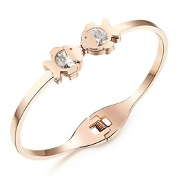 Gold bracelet fish desiGn online shopping - 14k Rose Gold Plated Crystal Open Bangle Stainless Steel Charming Bracelet Kiss Fish Design Cute Charming Jewelry