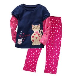 Chinese  Wholesale Cheapest Children Clothes Sets Autumn Spring Baby Girls Clothing Suit Polka Dot Cats Muilti Colors 90-130cm Kid Outfit manufacturers