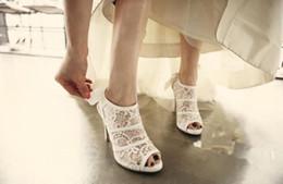 $enCountryForm.capitalKeyWord NZ - Vintage White Lace and Sheepskin Wedding Shoes Vinculum Party Dance High Heels Women Sandals Short Wedding Boots K1159
