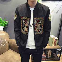 Manteau Mens Masculin Occasionnel Pas Cher-Vente en gros-2017 Mens veste Casual Slim Fit Bomber Jacket Hommes Mode Style Chinois Long Pao Print Hommes Coupe-Vent Veste Homme Manteaux Chaud