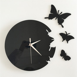 $enCountryForm.capitalKeyWord Australia - big 3D mirror wall stickers wall clock Creative Home Decor DIY cute butterfly Removable Decoration Stickers 2017 wholesale Free delivery