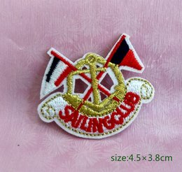 714fa630a7976 Gold Anchor   Boat Flags Nautical Marine Sailing Ship emblem Iron on  Embroidered patch Gift shirt bag trousers coat Vest Individuality