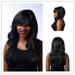 Wig Black Bangs African American Canada - Xiu Zhi Mei 24inch 1B Long Black Wig Wavy Hairstyles For Women Heat Resistant Synthetic African American Wigs With Bangs