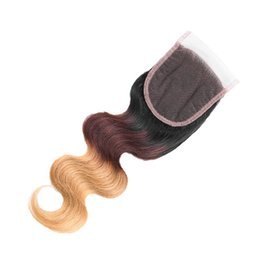 $enCountryForm.capitalKeyWord UK - Ombre Indian Virgin Hair Lace Closure T1b 4 27 Three Tone Body Wave Human Hair Swiss Lace Closure Free Part Bleached Knots