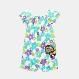 China Flower Baby Clothes Rompers Girls Dresses Monkey Embroidery Logo Jumping Beans Infant Jumpsuits Short Sleeve Shirts suppliers