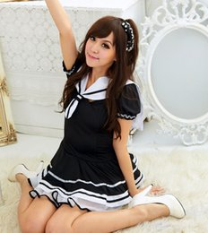 Barato Marinheiro Marinheiro Mulher Vestidos-New Cute Navy Women Dress / Students Uniform Lace Dress / Sexy Japanese School Girl Sailor Uniform Maid Cosplay Costume 190431