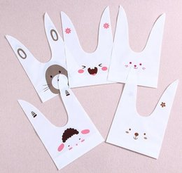 Biscuit snack Bags online shopping - 50pcs pack cute rabbit ear cookie bags Self adhesive Plastic Bags for Biscuits Snack Baking Package food bag