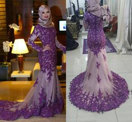 $enCountryForm.capitalKeyWord Canada - Luxury HIgh Neck Muslim Evening Dresses Formal Purple Appliqeus Lace mermaid Tulle Long Sleeves Prom Gowns 2016 Sweep Train