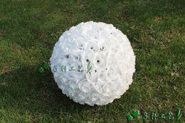 White Rose Silk Kissing Balls NZ - Elegant White Artificial Encryption Rose Silk Flower Ball Hanging Kissing Balls 30cm 12 Inch For Wedding Party Decoration Supplies