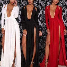 Barato Vestido De Cocktail Sexy V Cut-Sexy Mulheres Low Cut Double Split Cocktail Party Nightclub High Slit Maxi Dress