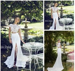 $enCountryForm.capitalKeyWord NZ - 2015 Riki Dalal Summer Chiffon Short Sleeve Beach Wedding Dresses Mermaid High Neck Lace Bodice Two Piece Front Slit Backless Bridal Gowns