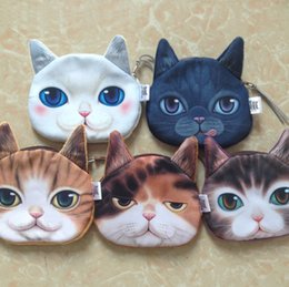 $enCountryForm.capitalKeyWord Canada - Cute Mini 3D Cat Bag Animal Face Purse Coin Bag Kids Wallet Makeup Handbags Clutch Pouch 5 Colors Keys Phone Holder Bags