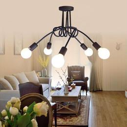 Discount Industrial Lighting Fixtures For Home Loft Black Northern Europe  Kitchen Modern Ceiling Lights Led E27