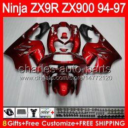 KawasaKi ninja zx9r 1997 online shopping - 8gifts Bodywork For KAWASAKI NINJA ZX9R ZX gloss red NO17 ZX R ZX900 ZX R Fairing glossy red