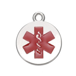 Wholesale Engraving Plate Gold 18k NZ - Antique Silver and 18k Gold Plated Medical Alert Caduceus Charms Red Enamel Star of Life Engraved Pendant Wholesale 10pcs