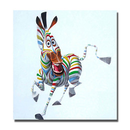 Funny Picture Animal Canada - Free shipping funny animal zebra oil painting on canvas fabric art work decor wall pictures for bedroom