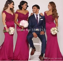 Chinese  Hot Pink Off the Shoulder Mermaid Junior Bridesmaid Dresses 2018 New Arabic Lace Top Sexy Low Back Maid Of Honor Wedding Party Wear manufacturers