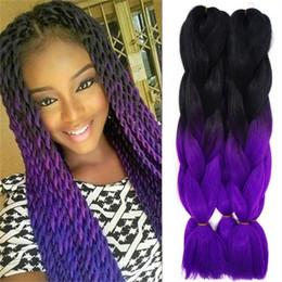 Marley braiding hair online shopping - Marley Braid Hair Two Tone Purple Grey Blue Black Ombre Kanekalon Braiding Hair Expression Senegalese Twist Braiding Hair Women