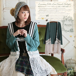 $enCountryForm.capitalKeyWord Canada - Wholesale- Autumn Winter Forest Style Loose Lace Cardigan Sweater Women Cute Sweet Mori Girl Outerwear V-neck Lolita Knitting Sweaters T005