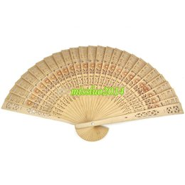 $enCountryForm.capitalKeyWord Australia - Free Shipping 400pcs lot cheap chinese carved folding fragrance wood hand fans Hot Selling via DHL Fedex UPS