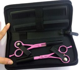 Hairdressing Scissors Kits Canada - Professional Hair Cutting Scissors Kit Pink Color Hairdressing Scissors Set 9G13 Steel Sassoon Scissor in a Leather Pouch Barber Shear Kit