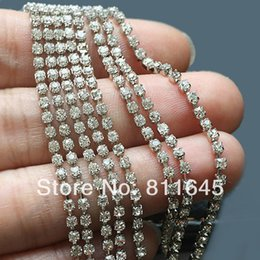 Silver Rolled Chain Canada - Crystal chain Rhinestone cup chain CPAM free,ss6 Crystal stone,Silver base,10yards roll, garment accessories