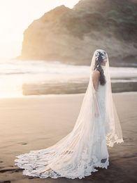 $enCountryForm.capitalKeyWord Australia - New High Quality Romantic Amazing One Layer Chapel Length Chapel Lace Applique veil Bridal Head Pieces For Wedding Dresses