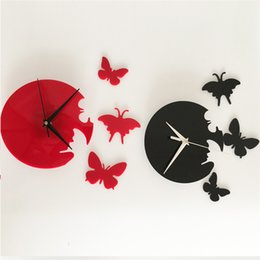 $enCountryForm.capitalKeyWord Australia - 3D Black mirror wall stickers wall clock Creative Home Decor DIY cute butterfly Removable Decoration Stickers 2017 wholesale Free delivery