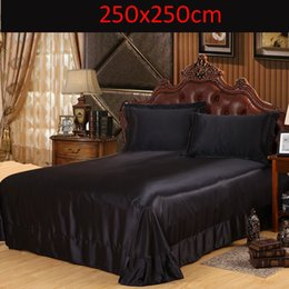 luxury brand solid black satin imitation silk sheets tribute silk twin full queen king size sheet pillowcase adult single bed