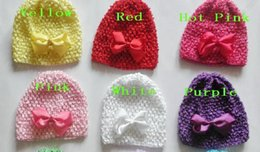"Discount selling hair bows - 50pcs baby waffle hat crochet hats with 3"" hair bows clips soft cap good toddler stretch caps feshion hot sell bean"