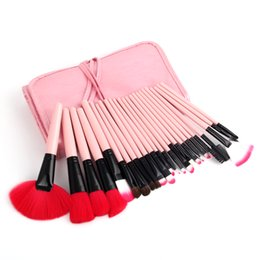 pink hair bags UK - Professional 24pcs set Makeup Brushes Cosmetic Make Up Tools Eyeshadow Blush Lip w  Leather Bag pincel maleta de maquiagem Pink