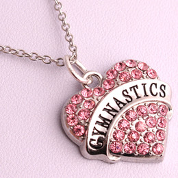 $enCountryForm.capitalKeyWord Australia - New Arrival Hot Selling rhodium plated zinc studded with sparkling crystals GYMNASTICS heart pendant link chain necklace