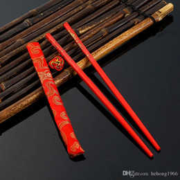 Lucky packs online shopping - Red Lucky Chopstick For Wedding Dowry Celebration Flatware Exquisite Packing Wooden Chopsticks Practical Dragon Gift Hot Sale jt J R