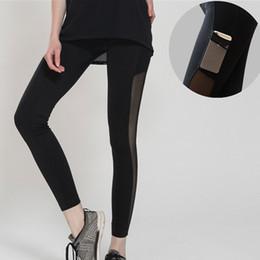 $enCountryForm.capitalKeyWord Canada - Wholesale-Side Pocket Women Yoga Pants Net Yarn Tights Women Yoga Compression Pants Elastic Tights Female Exercise Sports Fitness Leggings