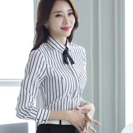 174d5ca6 Plus size 4XL 5XL fashion women tops long sleeve shirt All-match OL elegant  tie Formal office striped blouse ladies work wear