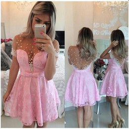 chic short prom dresses 2019 - Chic Light Pink Short Homecoming Dresses 2017 Short Sleeves Illusion Back Lace Mini Party Prom Dress Junior 8th Grade Gr
