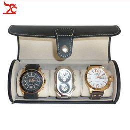 Box Jewelry Storage Organizer Black Australia - Portable Black Leather 3 Watch Travel Roll Case Jewelry Storage Box Holder Organizer