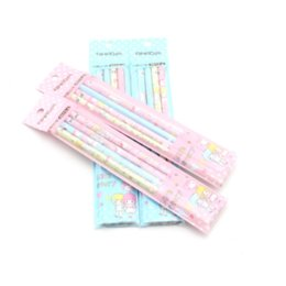 $enCountryForm.capitalKeyWord UK - Wholesale- 4 Pcs New Kawaii Love Story Aihao Hb Kids Wooden Kids Writing Standard Pencils School Office Supplies Stationery Tools