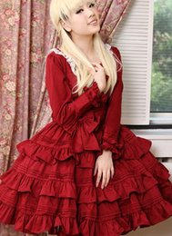 Xxl Red Dresses For Women Canada - 2016 Best Selling Elegant red long-sleeved Gothic Lolita dress,Gothic Clothing For Women