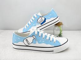 $enCountryForm.capitalKeyWord NZ - Hand-painted Canvas Cartoon Shoes Unisex Milk Graffiti Handpainted Shoes Blue Low Sneakers Lace-up Shoes Cheap Sale