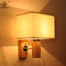 Simple Design Wall Lamp E27 90V 260V Creative Wood Chinese Style Fabric Lampshade For Bedroom Living Room Home Decor Lighting
