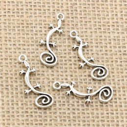 House Plates Australia - Wholesale 95pcs Charms Tibetan Silver Plated gecko house lizard 29*11mm Pendant for Jewelry DIY Hand Made Fitting
