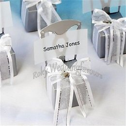 Barato Caixas De Presente De Cadeira-FREE SHIPPING 36PCS Miniature Chair Favor Box com coração Charm Organza Ribbon n Paper Card Wedding Favors Favors Eventos Presentes